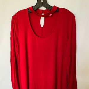 Vince Camuto Red Knit Tunic Sweater Choker Neck